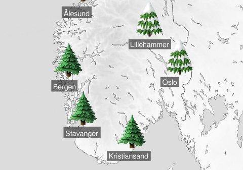 Her er det første julevarselet fra meteorologene, men det advares mot at det fremdles er lenge til jul og at mye kan endre seg. Foto: Meteorologene på Twitter