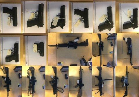 BESLAGLA: Politiet beslagla disse luftvåpnene hos den siktede 39-åringen.