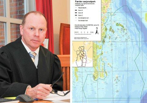 VANNSCOOTER-FORBUD: Den grønne streken på kartet viser hvor det er strengt forbudt å kjøre vannscooter. – Det er enkelte som mener verneforskriften er ugyldig, men det er den ikke. Det er totalforbud, sier politiadvokat Svein Folkestad på øko- og miljøseksjonen i Sør-Øst politidistrikt.