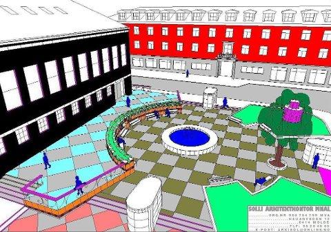 Vannspeil med fontene, buet mur med beplantning, terrasering av høydeforskjell, universell tilgjengelighet og grunnflate med fargede ruter og integrert belysning er sentrale grep i forslaget.