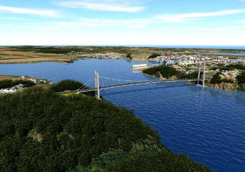 VIL HA BRU: Riksantikvaren  vil ha ny fastlandsforbindelse på bru over Vestfjorden mellom Ramberg og Smørberg.