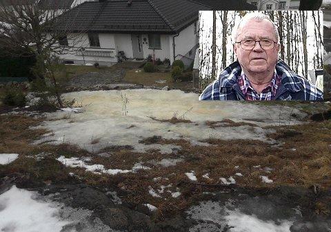 LØSNING? Det har vært unormalt mye is på eiendommen til Atle Axelsen i vinter. Endelig tror han på en løsning.