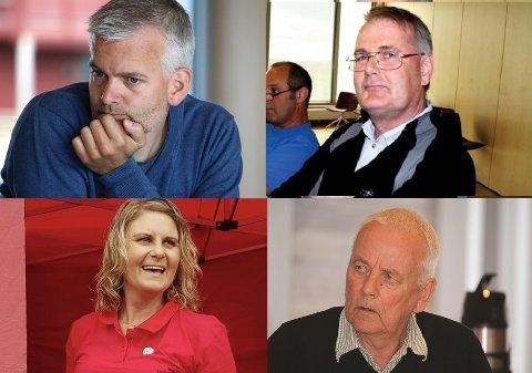 Vi har snakket med Høyres Hans Fredrik Tangen (oppe til venstre), KrFs Sveinung Seljås (oppe til høyre), Arbeiderpartiets Kari-Anne Håland Moe (nederst til venstre) og Senterpartiets Tellef Olstad.