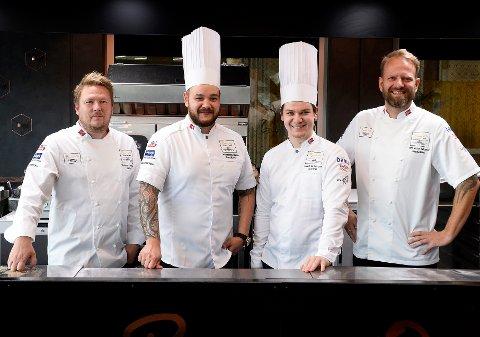 fra venstre: Gunnar Hvarnes (coach), Christian André Pettersen, Even Strandbråten Sørum (commis) og Tom Victor Gausdal (president Akademiet for Bocusekokker)