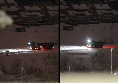 FRAKTET GRUS: Her er to av lastebilene som har kjørt inn grus til skredområdet. Grusen er brukt for å lage en vei, slik at redningsmannskap kan komme seg inn i skredet.