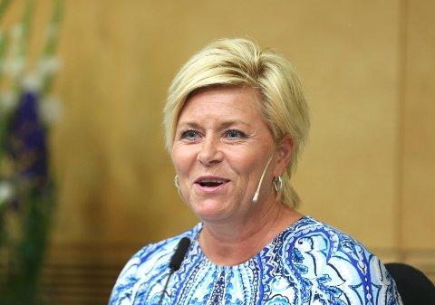 Finansminister Siv Jensen innfører flyseteavgiften fra 1. juni, som varslet. Uenigheten med ESA er nå ryddet av veien. FOTO. VIDAR RUUD, NTB SCANPIX