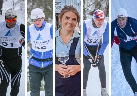 Fra venstre: Bengt Otto Adeler, Knut Myren, Tiril Mathisen, Leif Markseth og Mads Henrik Sandnes var blant de lokale deltakerne i Birkebeinerrennet.