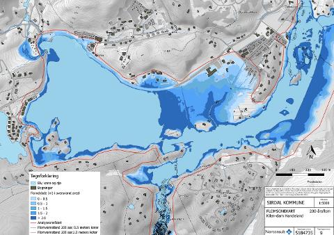 200-ÅRSFLOM: Både Sinnes Skule (midt i kartet), fylkesveien og hytteområder vil rammes hardt av en 200-årsflom i Øvre Sirdal.