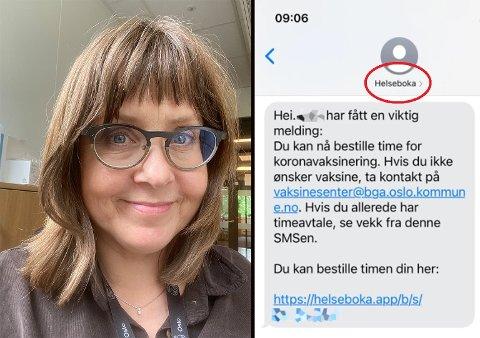SVAR PÅ MELDINGEN: Trine Ottosen oppfordrer deg som får meldingen til å klikke deg inn og bestille med en gang, om du vil ta vaksinen.