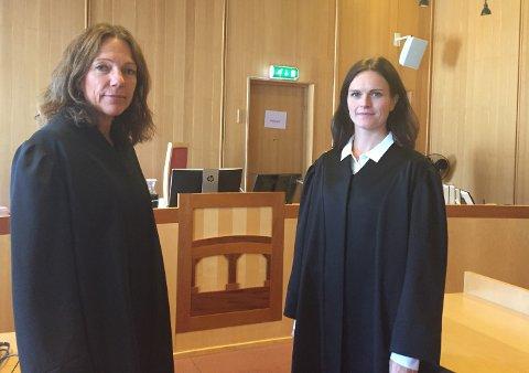 Aavokat Cecilie R. Sæther (til venstre) representerer Lier kommune. Advokat Ida Brabrand representerer den oppsagte lederen.