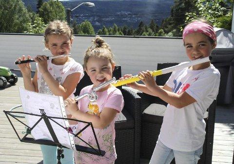 Unge solister: F.v søstrene Thea (5), Aina (4) og Emma (7) Holm fra Stenseth i Krokstadelva, har alle debutert som soloartister på tverrfløyte. De er med i Krokstad og Solberg skolekorps.
