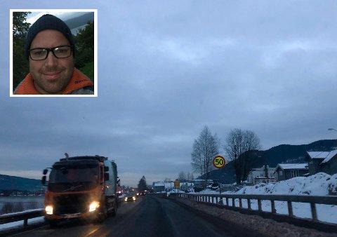 REDD DET SMELLER: Erik Treffen tok til Facebook for å oppfordre bilister til å ta mer hensyn til de som jobber langs veien. Han hevder at lastebiler raser forbi i opp mot 100 kilometer i timen.