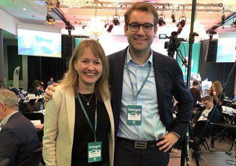 Gunhild-Berge Stang og Jacob Nødseth på landsmøte i Venstre.
