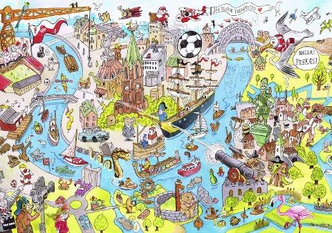 Byen vår::  Slik ser myldretegningen av Fredrikstad ut i boken. Illustrasjon: Haakon Lie