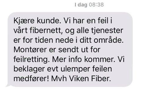 Denne SMS-en fikk en kunde på Gressvik onsdag morgen.