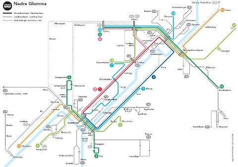 Rutenettet: Slik blir linjesystemet i Nedre Glomma fra 25. juni. Hovedbusslinjene går der hvor det bor flest folk og flest reiser med buss, mens lokalbussrutene går sjeldnere fordi det er færre reisende.