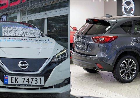 POPULÆRE: De mest solgte bilene i Narvik de siste årene er Nissan Leaf (t.v.) og Mazda CX-5 (t.h.).