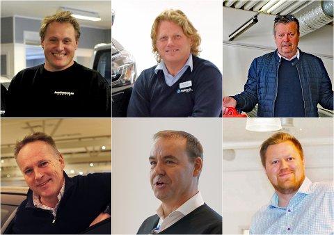 GODT ÅR: Bilforhandlerne i Narvik har hatt et godt 2020 så langt, selv om koronaen har påvirket markedet. Fra venstre: Øyvind R. Hunstad (daglig leder Autocenteret), Trond Fagerthun (daglig leder Fagerthun bil), Trond Frantzen (daglig leder Bentro bil), Bård Sommerseth (daglig leder Sommerseth), Ben Myklevold (daglig leder Svebjørn Auto) og Hans Marius Sletteng (regionleder Narvik, Harstad, Sortland og Andøy ved Nordvik).