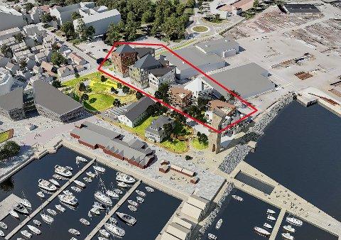 MULIGHETSSTUDIE: Tirsdag ble det klart at Horten Havnepark AS kjøper to tomter på nær fem mål av Horten havnevesen. Her blir det en park foran det nyrestaurerte Preserven. Hvordan bygningskroppene innenfor den røde markeringen vil se ut, er ikke klart, men det vil inneholde leiligheter, med næring på bakkeplan. Til venstre i bildet ligger Portalbygget.