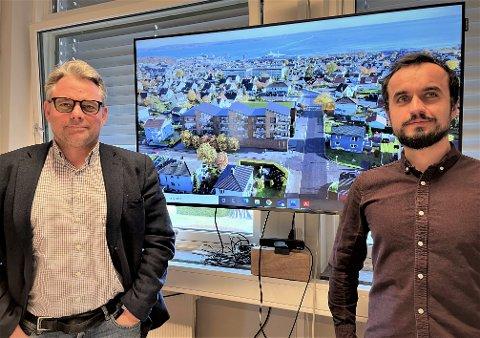 LEILIGHETER: Mathias Schulze og Wojciech Motylski ved KMS Arkitekter presenterer Norgesgruppens planer for boliger over butikk i  Grønligata.