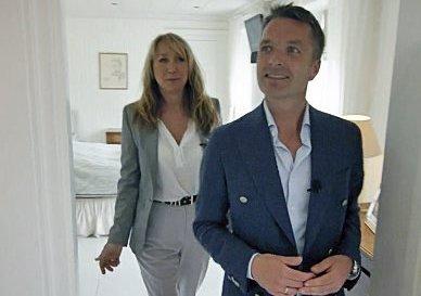Meglere: Meglerne Espen Hordnes, Privatmegleren og Mona Bjerke, Meglerhuset Innlandet på Rossmo gard. Foto: TV3