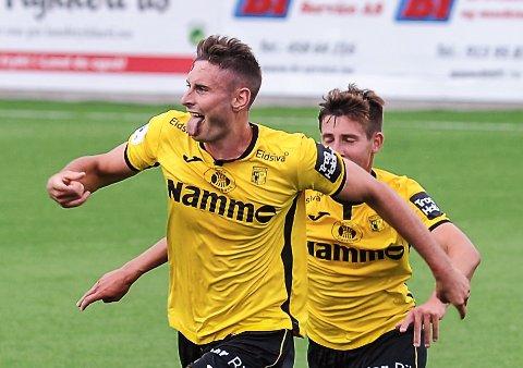 Marius Alm og Raufoss slo Sogndal 2-1 lørdag. Her er han i aksjon i kampen mot Kongsvinger i juli.