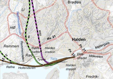 VIL LYTTE TIL FOLKET: 16. juni får befolkningen i Halden anledning til å komme med sine innspill om framtidig jernbane i Halden. Dette kartet viser noen av de alternative traseene.