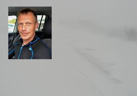 BRØYTER: Roy-Yngve Thomassen er ute i snøværet og brøyter vei for bilistene. Innfelt er Statens vegvesens webkamera av Sennalandet, hvor man såvidt ser veien.