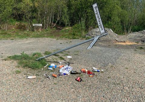 Søppel og knust skilt er det som har møtte de som bor ved Hagavatnet. Nå skal det bli enklere å håndtere søppelet.