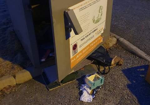 Containeren var brutt opp og alt innholdet fjernet.