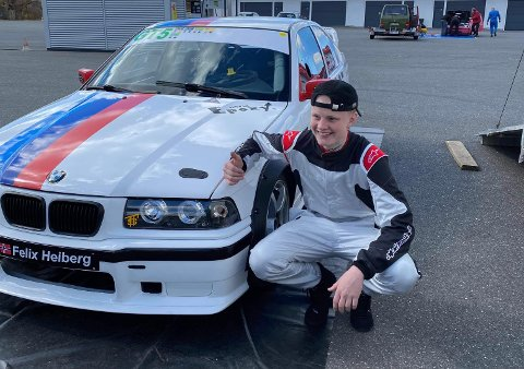 KLAR FOR DEBUT: Felix Heiberg fra Aurskog er klar for sin debut i asfaltracing lørdag.