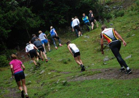 Tøff og populær: Langløypa i Kraftløpet er en utfordrende løype, med mye stigning, men det skremmer ikke løperne.