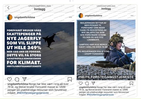 KAMPANJE: Elevene brukte blant annet falske Instagram-poster for å manipulere ungdom til å velge bort førstegangstjenesten. Her har de påstått at penger til Forsvaret går på bekostning av miljøtiltak. Informasjonen er falsk.