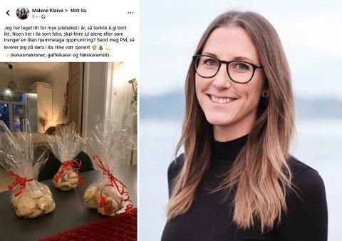 LA UT MELDING: Denne meldingen la Malene Kleive ut på Facebook da hun hadde laget litt for mye julebakst.