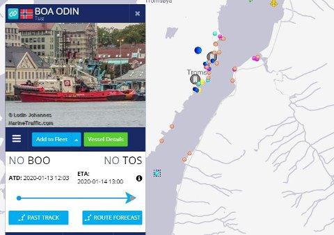 SNART FREMME: Her ankommer taubåten Boa Odin Tromsø for å sørge for at byen snart ser det siste av trålervraket Buhkta Naezdnik, SKJERMDUMP: Marinetraffic.com