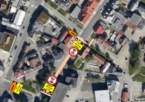OMKJØRING: Det blir omkjøring via Storgatbakken når man kommer fra sentrum, og via Nordre Tollbodgate når man kommer kjørende fra nord.
