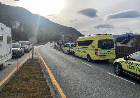 ULYKKE: Det har vært en trafikkulykke i Tromsdalen tidlig torsdag ettermiddag.