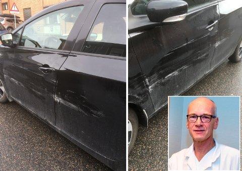SKADER: Bilen til Kjetil Weyde fikk synlige skader etter hendelsen. Foto: Privat