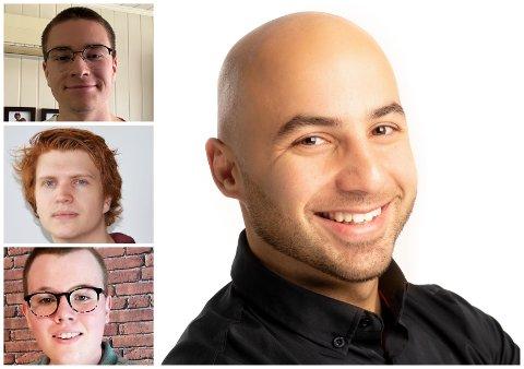 NYTT FIRMA: Mohammed Derawi (t. h) har fått med seg studentene Henrik Sørgård Johannessen, Tobias Enkerud Lien og Daniel Sebastian Carton.