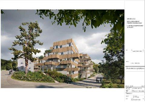 NYTT BOLIGOMRÅDE: I Parkveien 2C og 4 er det planlagt å bygge sju blokker med til sammen 128 leiligheter. Den gamle landhandelen (til venstre) skal bevares.