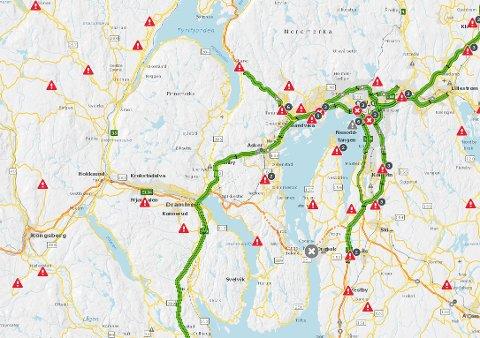 FØLG MED: På nettsiden til Statens vegvesen kan du sjekke forholdene på de ulike strekningene.
