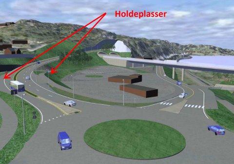 LANG PÅ- OG AVKJØRINGSVEI: Larvik kommune ønsker at busser som kommer på E18 fra Telemark kjører ned hit for å ta på passasjerer. Busselskapene med avgjøringsveien blir for lang.