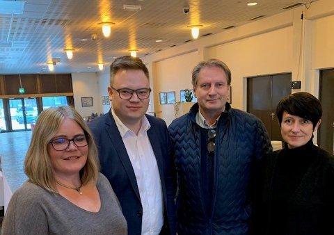 KLAR TALE: Kari-Anne Jønnes (f.v), Even Aleksander Hagen, Erik Ringnes og Aud Hove er tydelige på at Mjøssykehuset ved Mjøsbrua må realiseres.