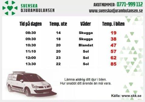 En oversikt som viser hvor varmt det blir i bilen når vinduene er igjen.