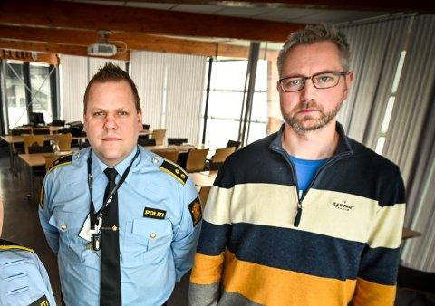 Politikontakt Tom Håvar Bogen og SLT-koordinator Rune Bang fra SLT i Rana bekymrer seg over flere meldinger om avtalte slåsskamper blant ungdom.