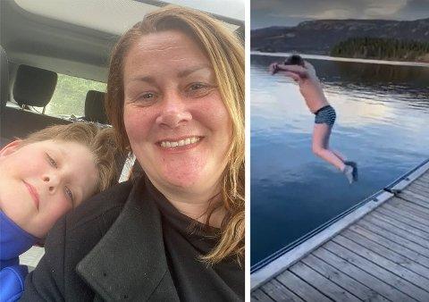 PÅSKEBAD: For første gang i livet badet Karl-Erik (11) i Steinsfjorden før påske. - Jeg tenkte at han er litt gæærn, sier mamma Ingeborg Marie Kihle (46).