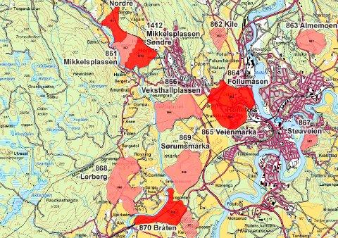 KART FRA NVE: Her indikeres såkalte risikoklasser for kvikkleireområder i Ringerike. Du kan selv søke opp om ditt boligområde ligger på kvikkleiregrunn.