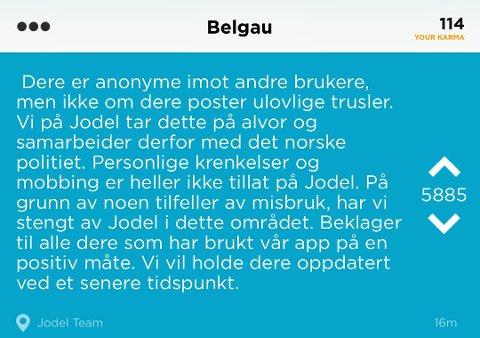 Jodel har gjort det klart for brukerne at de samarbeider med politiet i Norge. Skjermbilde av Jodel via Sandefjords blad