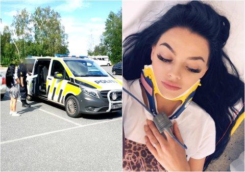 FORSLÅTT: Slik så Stina Bakken ut etter at en eldre mann slo til henne da hun besøkte Skjellvika torsdag ettermiddag. Politet har foreløpig ikke arrestert gjerningsmannen.