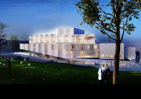 Slik er opera- og kulturhuset som arkitektfirmaet C.F. Møller har tegnet for Kongens Plass/Langveien i Kristiansund.